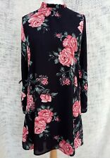 Stunning Black Floral High Neck Swing Dress Size 16