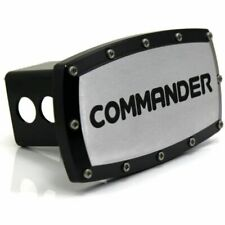"""Jeep Commander 2"""" Tow Hitch Cover Plug Engraved Billet Black Powder Coated"""
