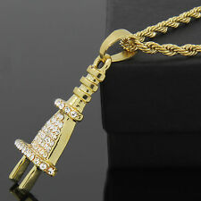 "Hip Hop Style Iced Out ELECTRIC PLUG Pendant 14k Gold Plated 24"" Rope Chain Link"