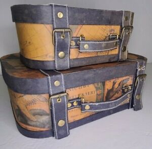Set 2 Rectangle Steamer Trunk Style Nesting Boxes World Map Made in Phillipines