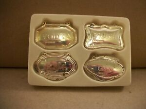 Pottery Barn Sterling Silver Decanter Tags - Set 4 - Vodka, Rum, Gin, and Scotch