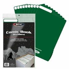 (200) BCW COMIC BOOK DIVIDERS  - WRITE-ON FOLDABLE TABBED - Green plastic