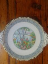 "Royal Albert Silver Birch Small 9 3/4"" Handled Cookie / Cake Plate"