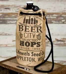 'Beer City Growler' Vintage Canvas Draw String Tote Beer Bag Wine Bag Carrier