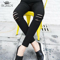 Women's High Waist Denim Ripped Jeans Pants Stretch Skinny Slim Pencil Trousers