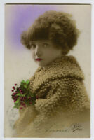 1920s Deco Children child WINTER'S COAT GIRL tinted French photo postcard