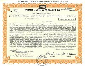 Coleman American Companies, Inc. > 1978 old stock certificate share