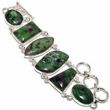 "Ruby In Zoisite Gemstone Handmade 925 Sterling Silver Bracelet 6-9"""