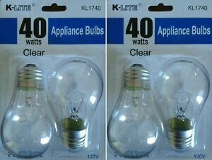 4 Pack Appliance Light Bulb 40W A15 Refrigerator Freezer Oven Microwave Fan