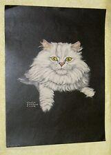 Gladys Emerson Cook-Vintage1950sEra Color Art white angora Cat Print /Beautiful