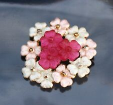 BROOCH flower brooch, white and red flowers