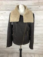 NEXT Faux Leather Flying Jacket - Size UK10 - Brown - Great Condition - Women's