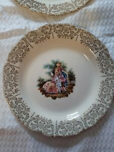 Victorian style Dessert plates with gold accents set of 8