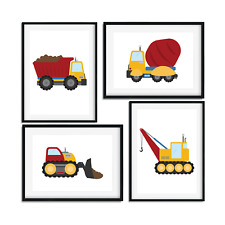 Set of 4 Prints / Pictures with Diggers for Boys Bedroom / Construction Vehicles