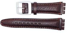 New Condor 19mm (22mm) Leather Strap Compatible for Swatch® Watch - Brown - SC14