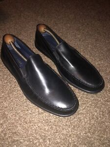 EUC Cole Haan Mens Black Leather Slip On Loafers Driving Mocs Size 10 1/2