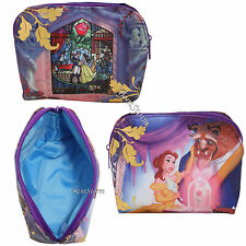 Disney Beauty And The Beast Stained Glass Rose Cosmetic Make-Up Tote Bag Purse