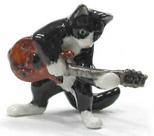 ➸ NORTHERN ROSE Musician Black and White Tuxedo Cat Electric Guitar