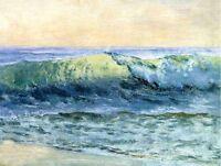 "Oil painting Albert Bierstadt - Seascape ocean waves by beach free shipping 36"""