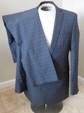 Ben Sherman Mens 2 Button Suit Sz 40 L Blue glen plaid 33x31Dual Vent Flat Front