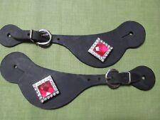 Black Latigo Leather Spur Strap Pink & Crystal Blink accents