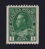 Canada Sc #131 (1915-24) 1c dark green Admiral Coil Mint XF NH MNH