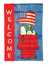 """PEANUTS SNOOPY PATRIOTIC WELCOME FLAG~12"""" x 18""""~MEMORIAL DAY~JULY 4~LABOR DAY"""
