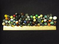 LOT OF 78 ANTIQUE VINTAGE MARBLES OPAQUE SWIRL SHOOTER AKRO AGATE (55)