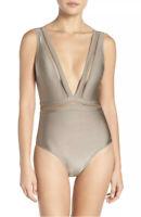 Ted Baker Khaki Starza Plunge One Piece Swimsuit Pointelle Deep V Bathing Suit 3