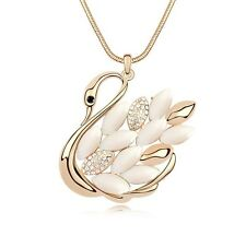 18K Gold GP SWAROVSKI Element Crystal Swan Bird Pendant Necklace White