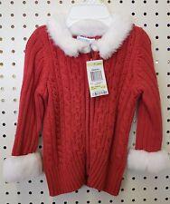 NW Baby 3-6 M RED White Faux Fur Girl Cardigan Greendog Christmas Santa Sweater