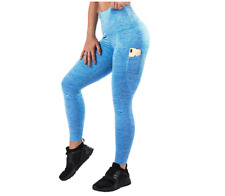 Mava Light Blue Large High Waist Yoga Pants Fitness Workout Leggings Women
