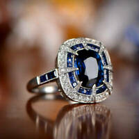 2.2 CT Cushion cut Blue Sapphire Princess Engagement Ring 14k White Gold Over