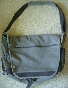 Travelwell Shoulder Messenger Laptop Bag Ecoline !00% Natural Canvas Gray