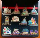 Disney Pins - 12 Parks Opening Day Commemorative Pins & Display Box - Full Set