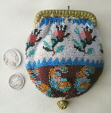 Antique Chatelaine Crochet Rose Bud Micro Bead Fancy Ball Tassel Coin Purse 1890