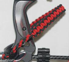 Archery Red and Black paracord bow wrist Bling Sling strap Mathews Fire Red