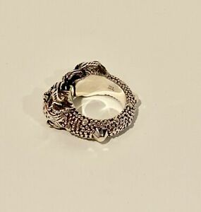 NWT GUCCI Sterling Silver Vintage Tiger Double Headed Cuff Ring  Sz 11 or 11.5