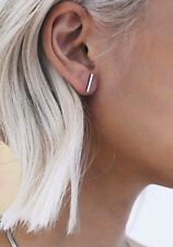 Popular Edgy Silver plated ~1cm Bar Punk T Stud Fashion Earrings - Free Shipping