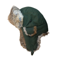 Mad Bomber 100% Rabbit Fur Hat Green Ear Flaps Men's Size Small Warm Comfortable