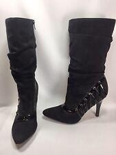 Carlos Santana Zillion Women Shoes Black Pointy Toe Mid Calf Boot Size 8 M