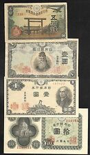 Japan Paper Money - Set/4 Notes - 50 Sen/1 Yen/1 Yen/10 Yen - 1943/1946 - F/XF