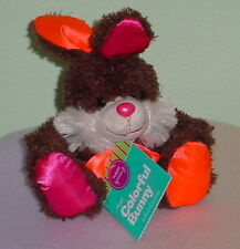 MINI BROWN BUNNY *BIG EYES * PINK/ORANGE NOSE/EARS * PINK BOW * NEW * 6 INCH *