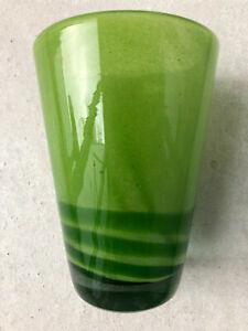 Henry Dean Vase Glas grün 19,5 cm handgefertigt unbenutzt