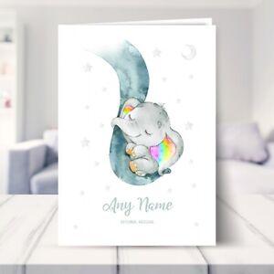 Personalised Elephant Card - Dumbo, Rainbow New Baby Christening Baptism Neutral