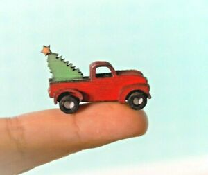 Dollhouse Miniature Christmas Red Truck Tree Wood Home Decor 1:12 scale