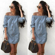 Fashion Women's Jeans Denim T-Shirt Short Sleeve Casual Loose Shirt Mini Dress