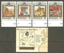 BAHAMAS Sc# 640 - 644 MNH FVF Set-4+ Souv Sheet Columbus Ship Map Art
