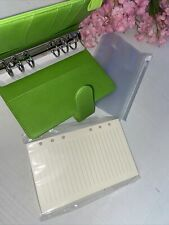 A6 Planner Binder 80 Notebook Paper 4 Plastic Pouches Vibrant Green
