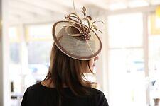 Fascinator Haarschmuck Hüte Damen Kopfschmuck Haarreif Anlasshüte Hochzeit Beige